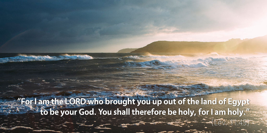Leviticus 11–12: For I am the LORD who brought you up out of the land of Egypt to be your God, and you shall therefore be holy for I am holy.