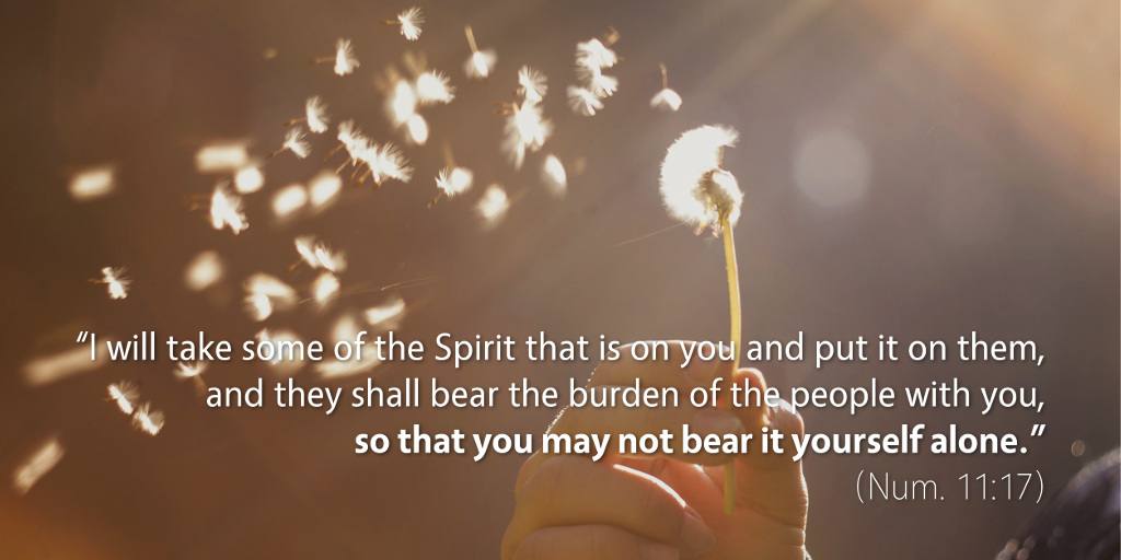 Numbers 11: I will take some of the Spirit that is on you and put it on them.