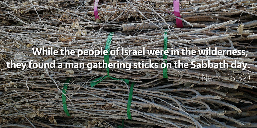 Numbers 15: They found a man gathering sticks on the Sabbath day.