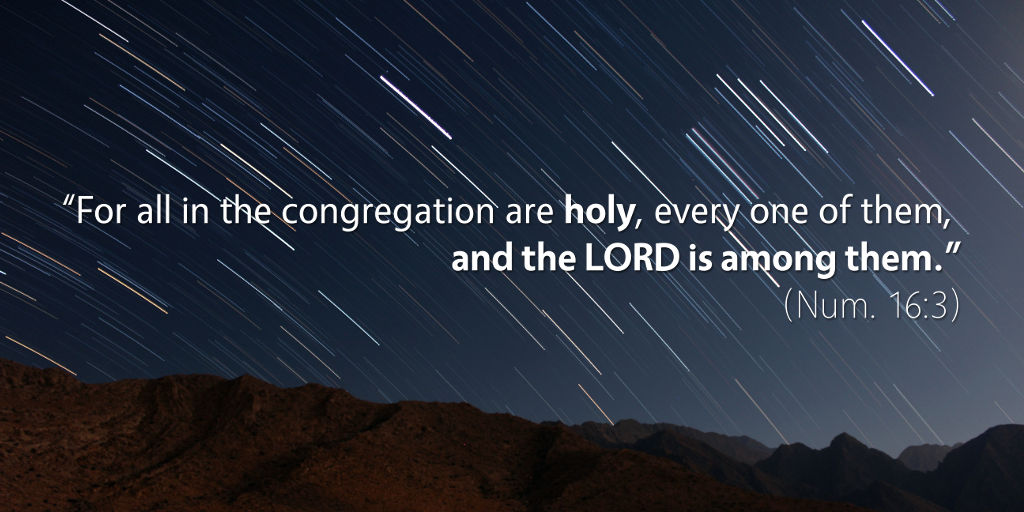 Numbers 16: For all in the congregation are holy, every one, and the LORD is among them..