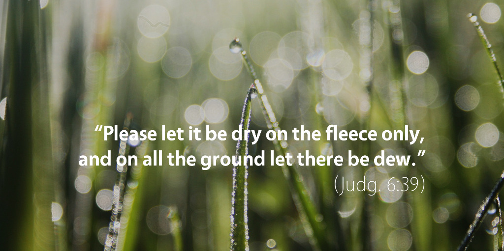 Judges 6: Please let it be dry on the fleece only and on all the ground let there be dew.