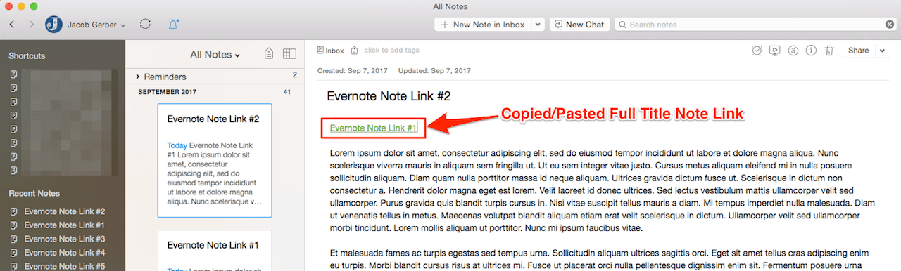 Copied and Pasted Full Title Evernote Note Links