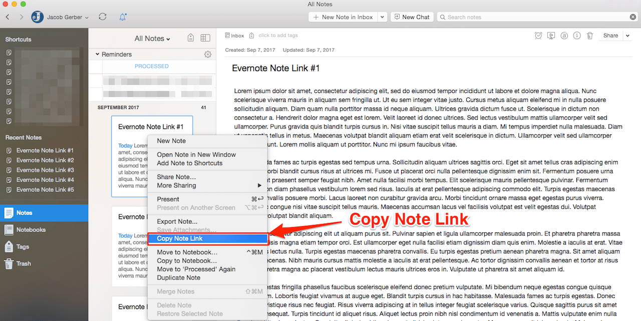 How to Copy Evernote Note Links