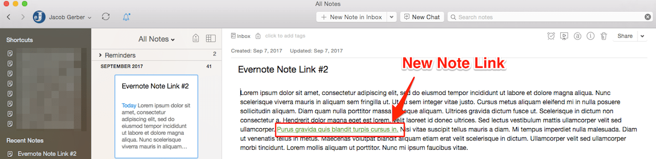 New Evernote Note Link