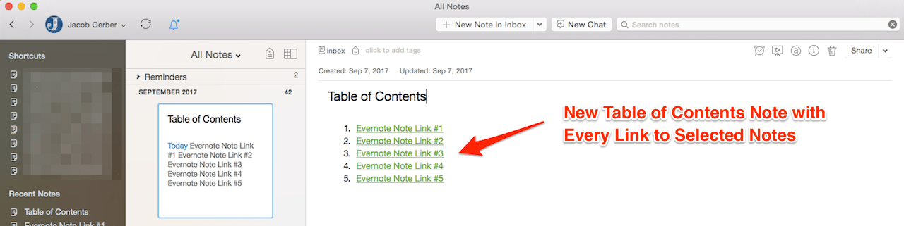 New Table of Contents Note with Several Evernote Note Links